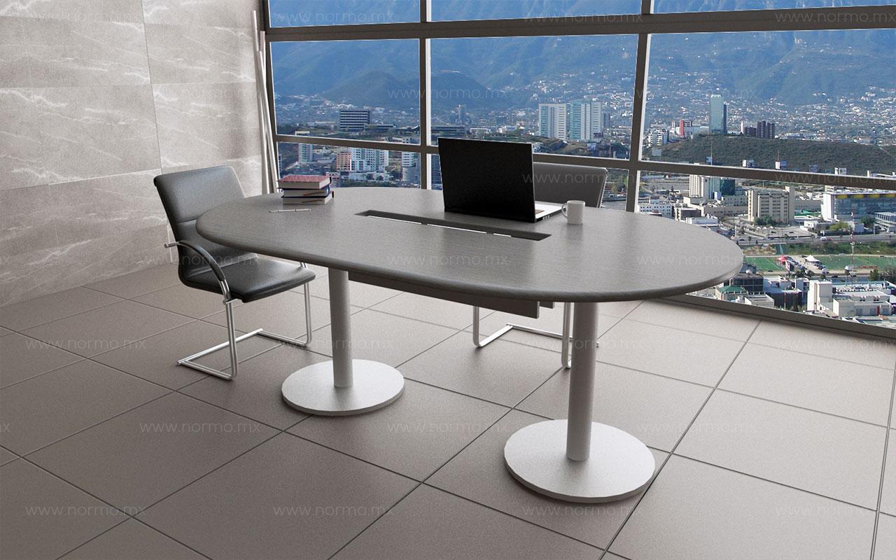 mesa de trabajo curva en melamina con pata metalica redonda