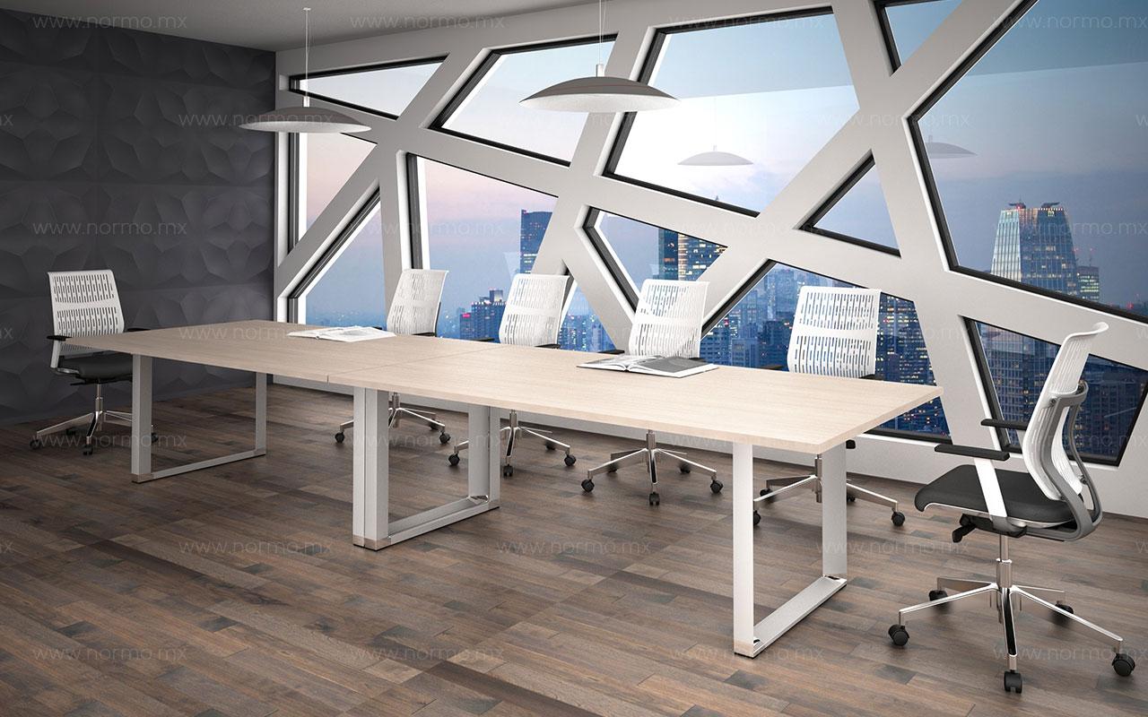 mesa de juntas de trabajo melamina pata metalica
