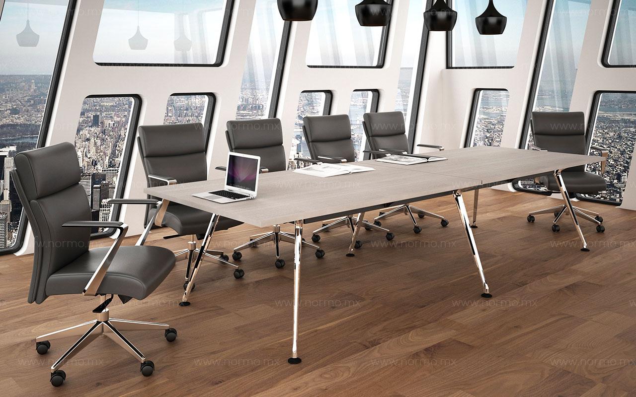 mesa de juntas de oficina con pata metalica