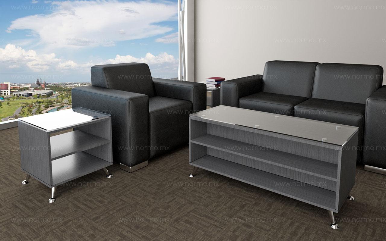 mesas de espera y sofá oficina