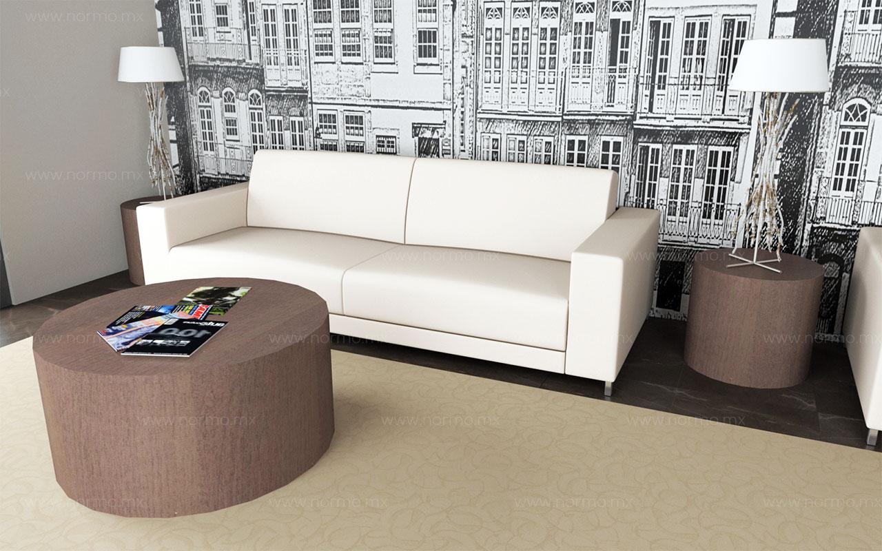mesa de espera y sofá