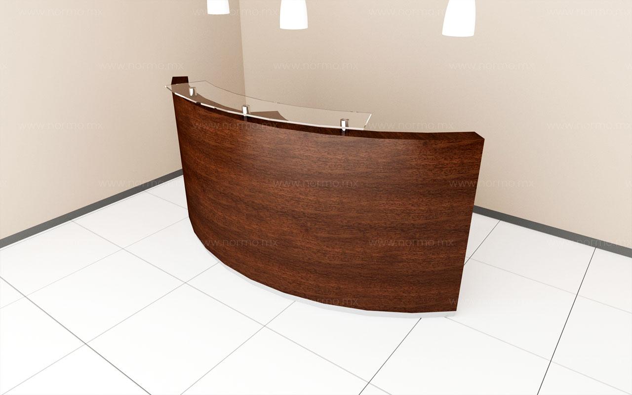 mueble de oficina recepción curva con cubierta de vidrio