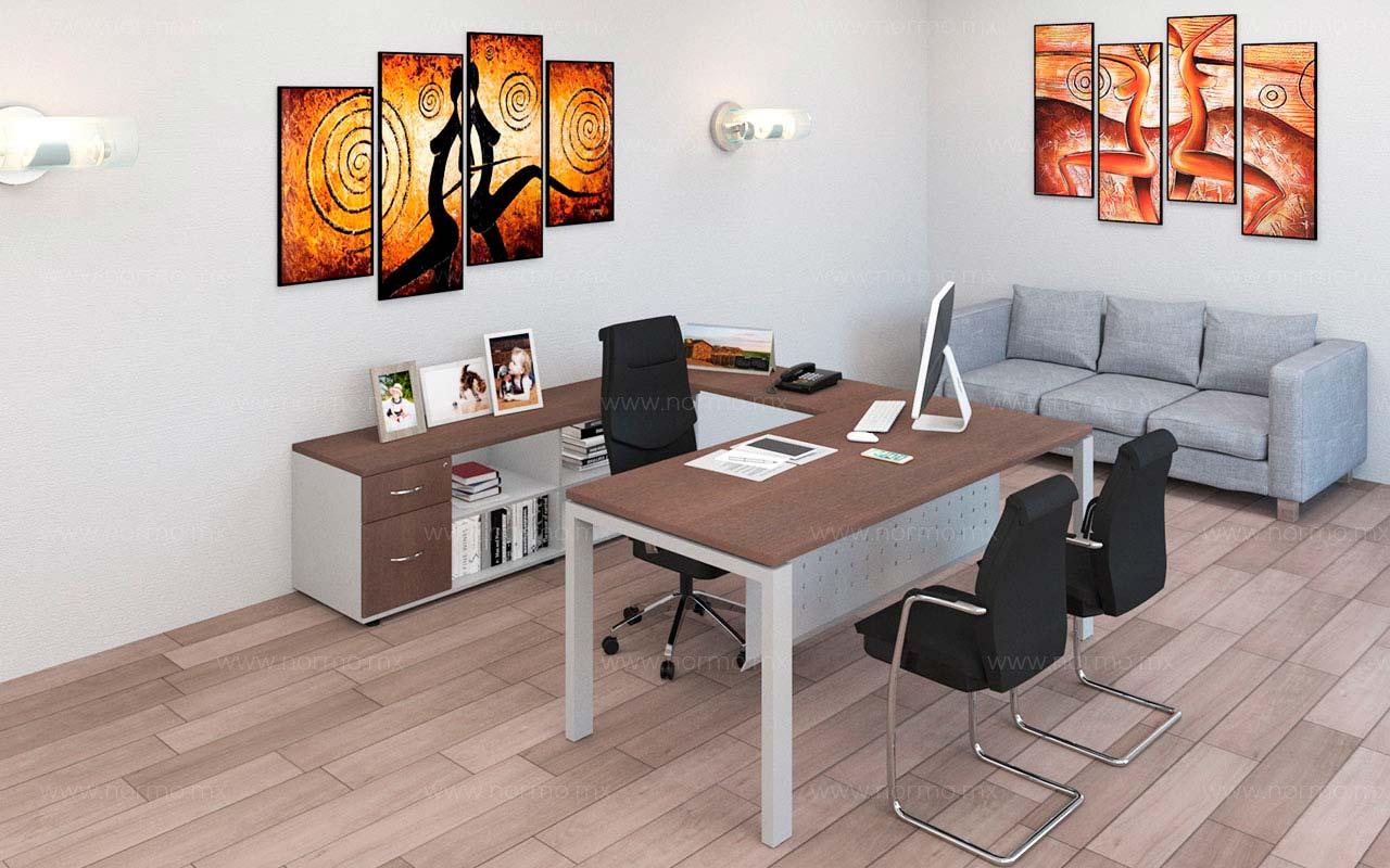 escritorio de trabajo en U