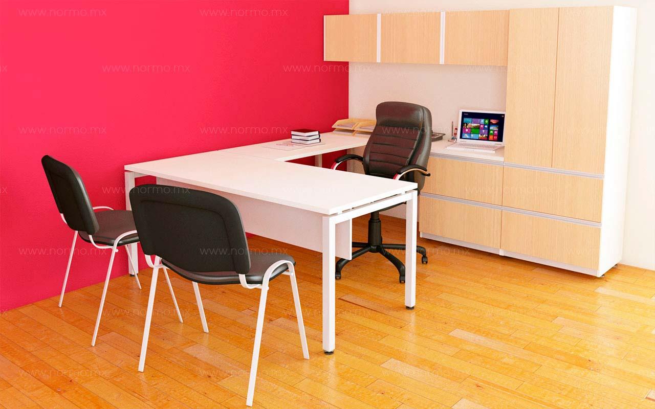 escritorio de trabajo en L