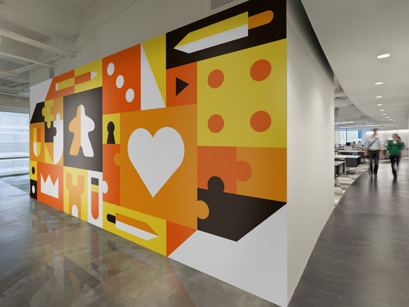 vinil decorativo en pared de oficina